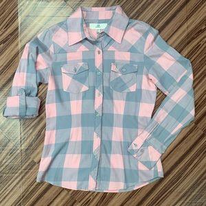 Thread & Supply Pink Plaid Roll Tab Sleeve Top - S